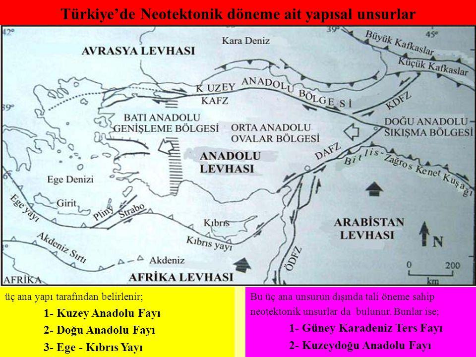 Türkiye'de Neotektonik döneme ait yapısal unsurlar Bu üç ana unsurun dışında tali öneme sahip neotektonik unsurlar da bulunur. Bunlar ise; 1- Güney Ka