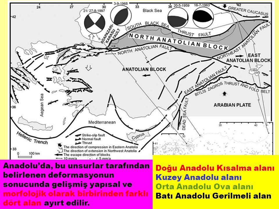 Doğu Anadolu Kısalma alanı Kuzey Anadolu alanı Orta Anadolu Ova alanı Batı Anadolu Gerilmeli alan Anadolu'da, bu unsurlar tarafından belirlenen deform