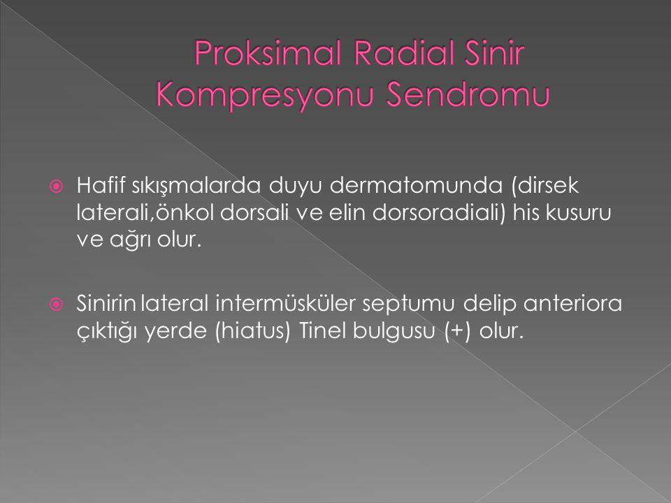  Hafif sıkışmalarda duyu dermatomunda (dirsek laterali,önkol dorsali ve elin dorsoradiali) his kusuru ve ağrı olur.  Sinirin lateral intermüsküler s