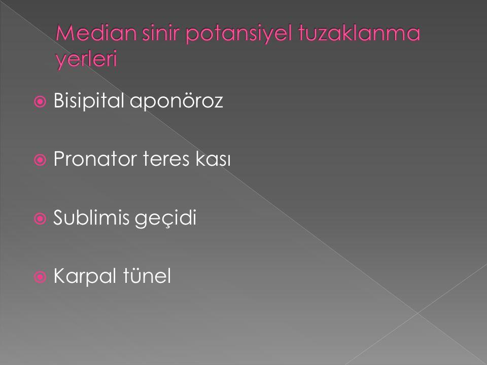  Bisipital aponöroz  Pronator teres kası  Sublimis geçidi  Karpal tünel