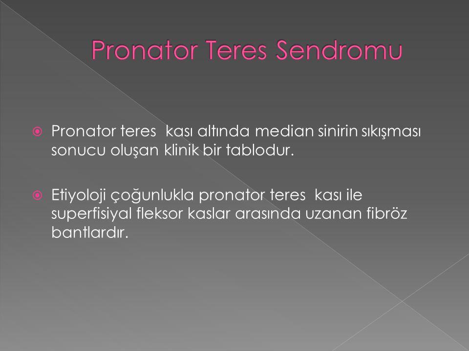  Pronator teres kası altında median sinirin sıkışması sonucu oluşan klinik bir tablodur.  Etiyoloji çoğunlukla pronator teres kası ile superfisiyal