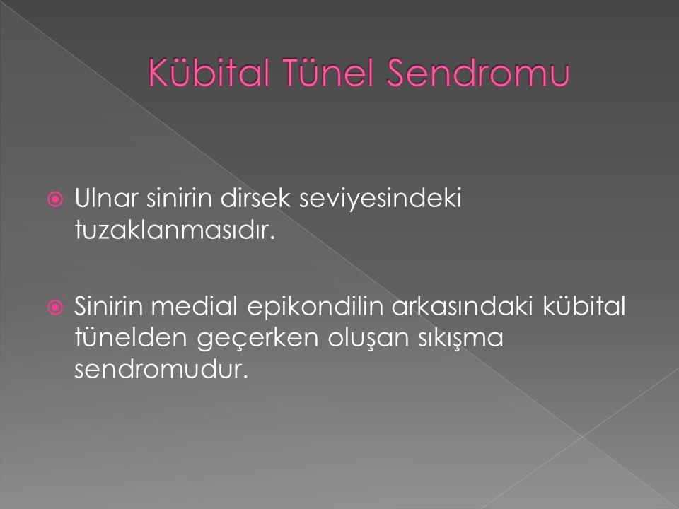  Ulnar sinirin dirsek seviyesindeki tuzaklanmasıdır.  Sinirin medial epikondilin arkasındaki kübital tünelden geçerken oluşan sıkışma sendromudur.