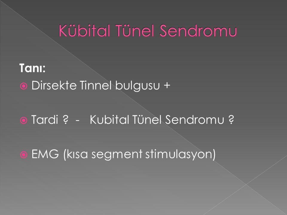 Tanı:  Dirsekte Tinnel bulgusu +  Tardi ? - Kubital Tünel Sendromu ?  EMG (kısa segment stimulasyon)