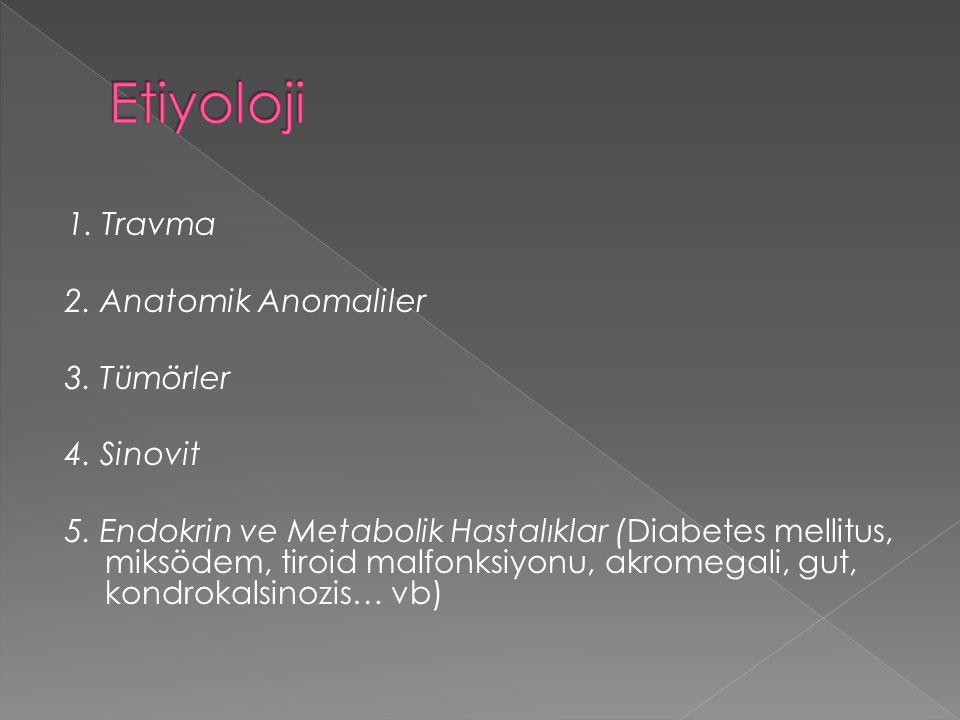 1. Travma 2. Anatomik Anomaliler 3. Tümörler 4. Sinovit 5. Endokrin ve Metabolik Hastalıklar (Diabetes mellitus, miksödem, tiroid malfonksiyonu, akrom