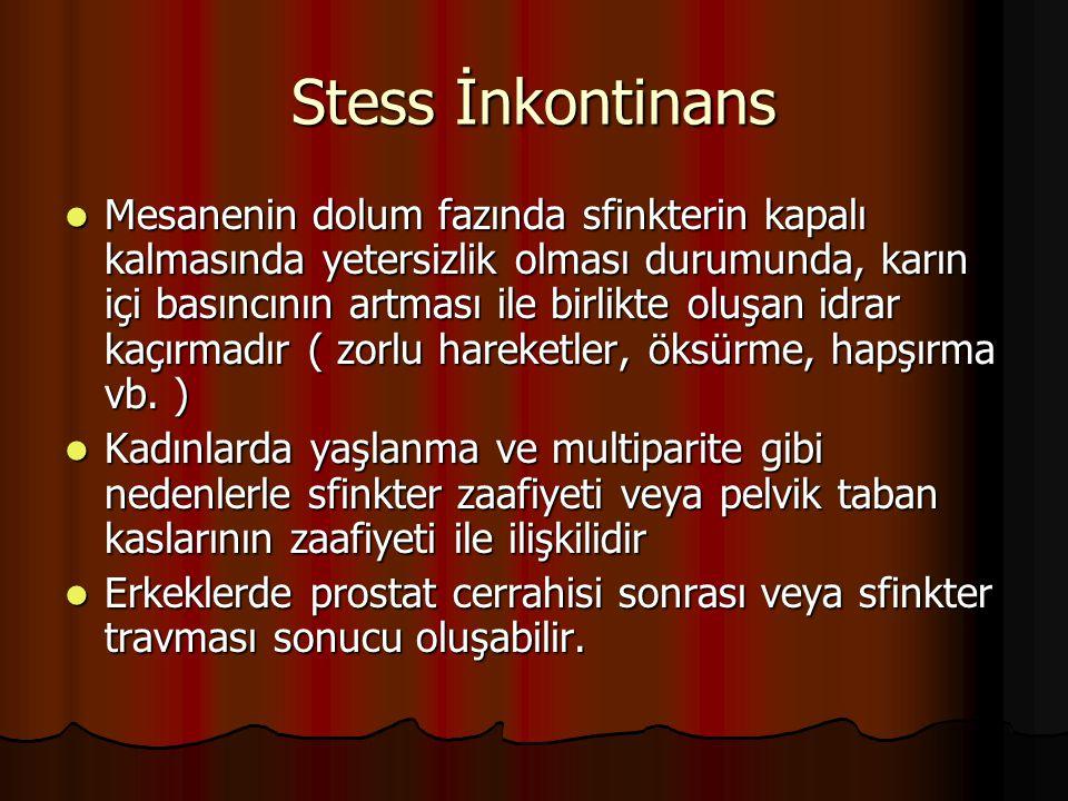 Stess İnkontinans Mesanenin dolum fazında sfinkterin kapalı kalmasında yetersizlik olması durumunda, karın içi basıncının artması ile birlikte oluşan
