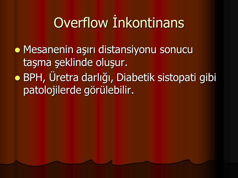 Overflow İnkontinans Mesanenin aşırı distansiyonu sonucu taşma şeklinde oluşur. Mesanenin aşırı distansiyonu sonucu taşma şeklinde oluşur. BPH, Üretra