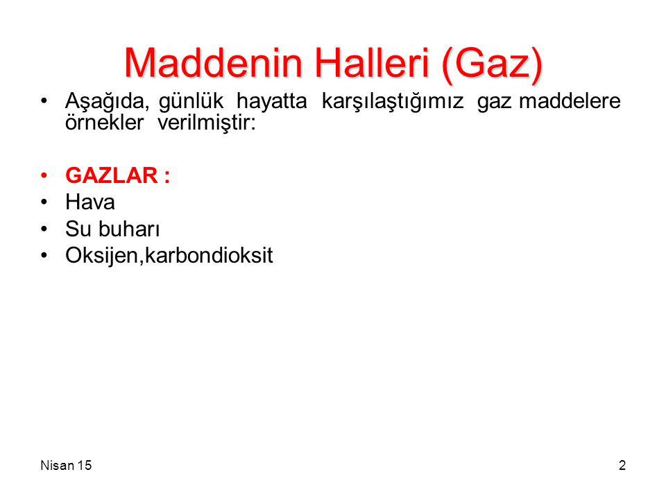 Nisan 152 Maddenin Halleri (Gaz) Aşağıda, günlük hayatta karşılaştığımız gaz maddelere örnekler verilmiştir: GAZLAR : Hava Su buharı Oksijen,karbondio