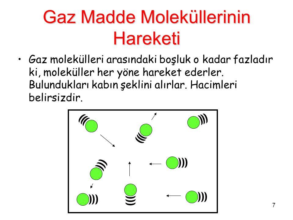 7 Gaz Madde Moleküllerinin Hareketi Gaz molekülleri arasındaki boşluk o kadar fazladır ki, moleküller her yöne hareket ederler. Bulundukları kabın şek