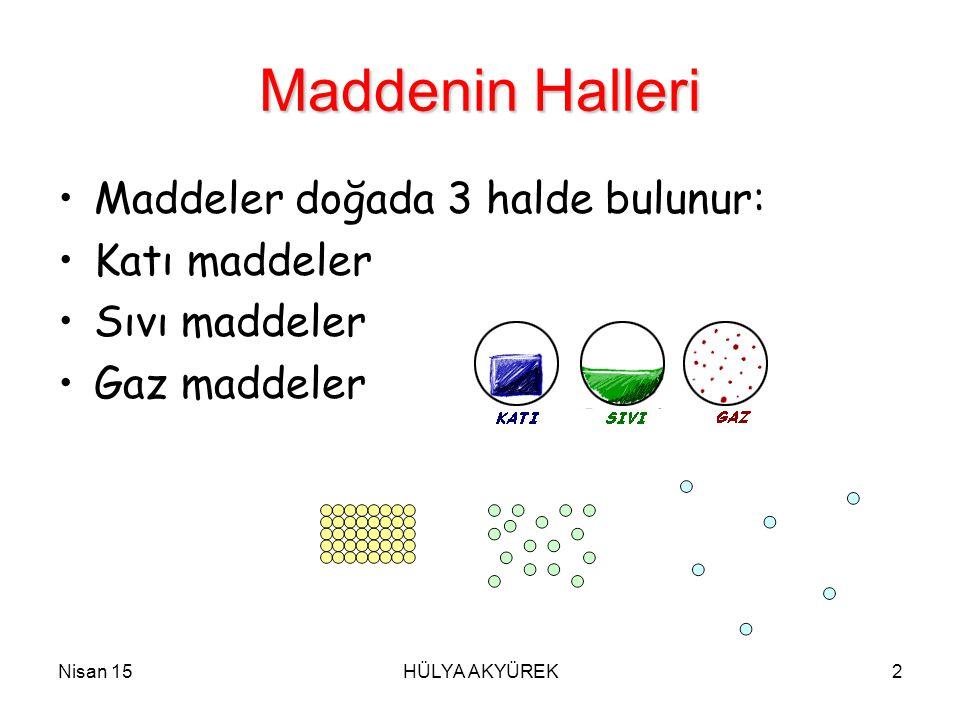 Nisan 15HÜLYA AKYÜREK2 Maddenin Halleri Maddeler doğada 3 halde bulunur: Katı maddeler Sıvı maddeler Gaz maddeler