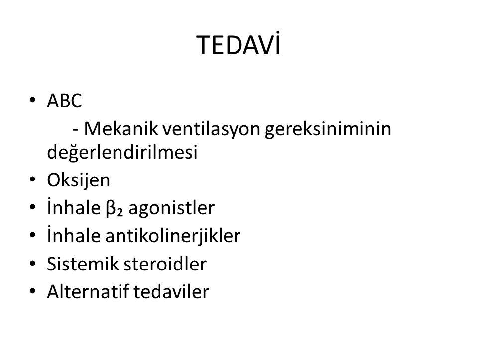 TEDAVİ ABC - Mekanik ventilasyon gereksiniminin değerlendirilmesi Oksijen İnhale β₂ agonistler İnhale antikolinerjikler Sistemik steroidler Alternatif