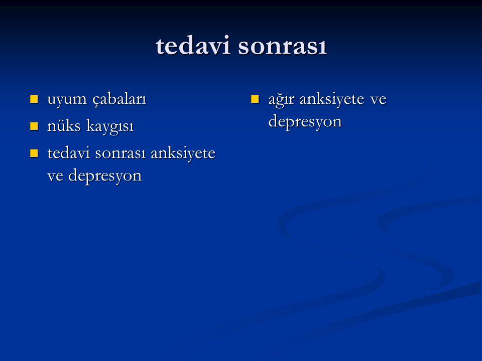 tedavi sonrası uyum çabaları uyum çabaları nüks kaygısı nüks kaygısı tedavi sonrası anksiyete ve depresyon tedavi sonrası anksiyete ve depresyon ağır anksiyete ve depresyon