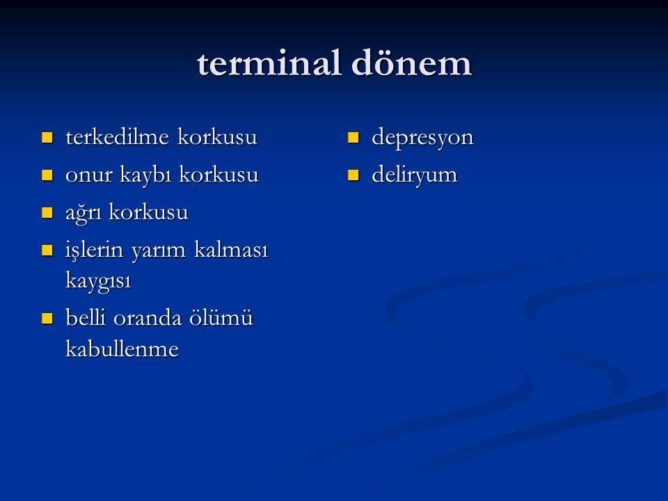 kanser hastalarında ortaya çıkan psikiyatrik hastalıklar anksiyete: alprozolam, lorazepam anksiyete: alprozolam, lorazepam depresyon: SSRIlar; fluoksetin, paroksetin, sertralin, sitalopram depresyon: SSRIlar; fluoksetin, paroksetin, sertralin, sitalopram deliryum : haloperidol deliryum : haloperidol mani :atipik nöroleptikler;clozapin, ketiapin mani :atipik nöroleptikler;clozapin, ketiapin psikoterapiler: bireysel, grup