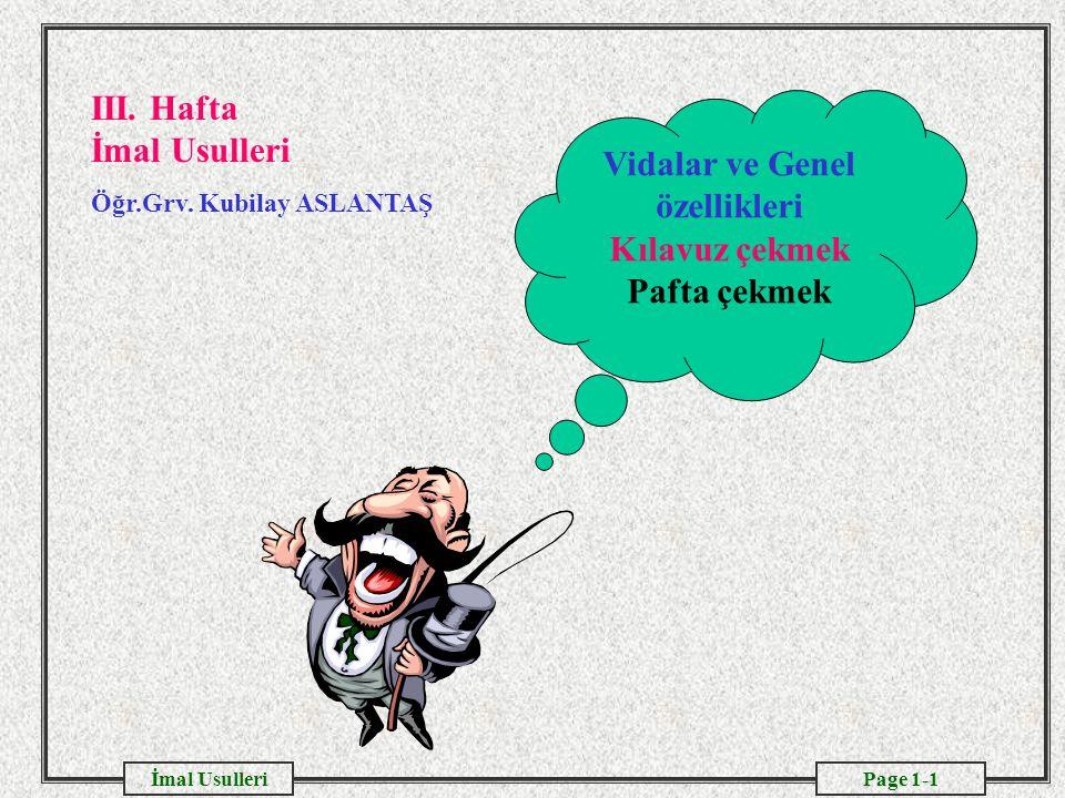Page 1-1İmal Usulleri Vidalar ve Genel özellikleri Kılavuz çekmek Pafta çekmek III.