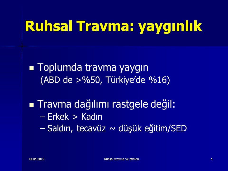 04.04.2015Ruhsal travma ve etkileri4 Ruhsal Travma: yaygınlık Toplumda travma yaygın (ABD de >%50, Türkiye'de %16) Travma dağılımı rastgele değil: – –Erkek > Kadın – –Saldırı, tecavüz ~ düşük eğitim/SED