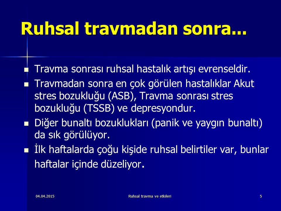 04.04.2015Ruhsal travma ve etkileri66 Belirleyicilerin evrenselliği Psikiyatrik hastalıklar için risk faktörleri TSSB'nin kronikleşmesini de belirliyor Psikiyatrik hastalıklar için risk faktörleri TSSB'nin kronikleşmesini de belirliyor Travma şiddeti kronikleşmeyi belirliyor Travma şiddeti kronikleşmeyi belirliyor Depresyonun travma ile ilişkisi TSSB'ye oranla çok daha az Depresyonun travma ile ilişkisi TSSB'ye oranla çok daha az