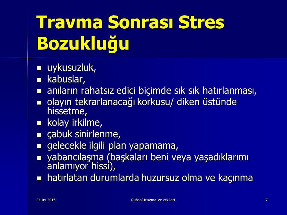 04.04.2015Ruhsal travma ve etkileri88 TSB ile İlgili Bilinenler-2 Çocuk Yaşlı Çocuk Yaşlı Dışadönük/yeni deneyime açık olanlarda  Dışadönük/yeni deneyime açık olanlarda  Psikolojik açıdan sağlıklı olanlarda  Psikolojik açıdan sağlıklı olanlarda  TSB gelişimi travmanın iyi bir şey olduğu anlamına gelmez TSB gelişimi travmanın iyi bir şey olduğu anlamına gelmez Kişiler hem acıyı hem de olumlu değişmeyi yaşarlar Kişiler hem acıyı hem de olumlu değişmeyi yaşarlar