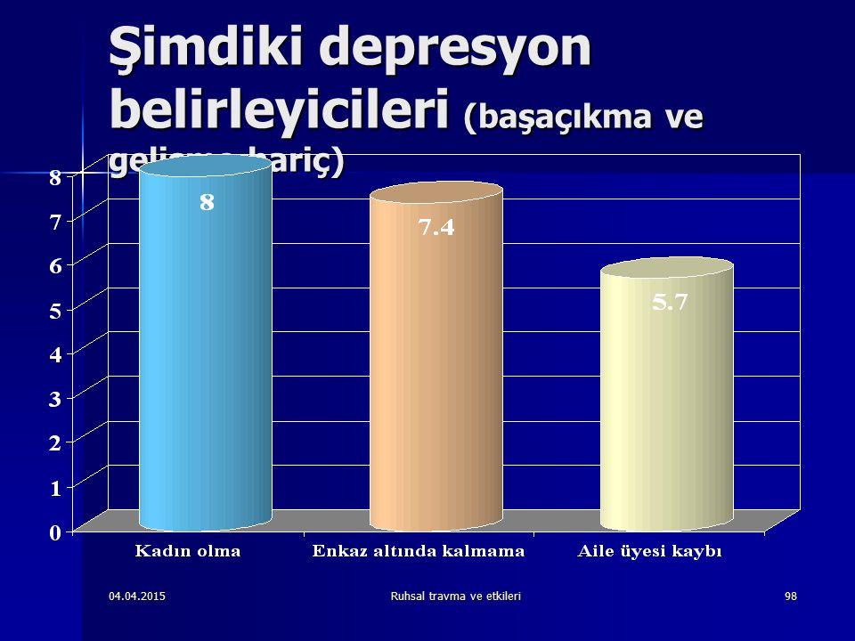04.04.2015Ruhsal travma ve etkileri98 Şimdiki depresyon belirleyicileri (başaçıkma ve gelişme hariç)
