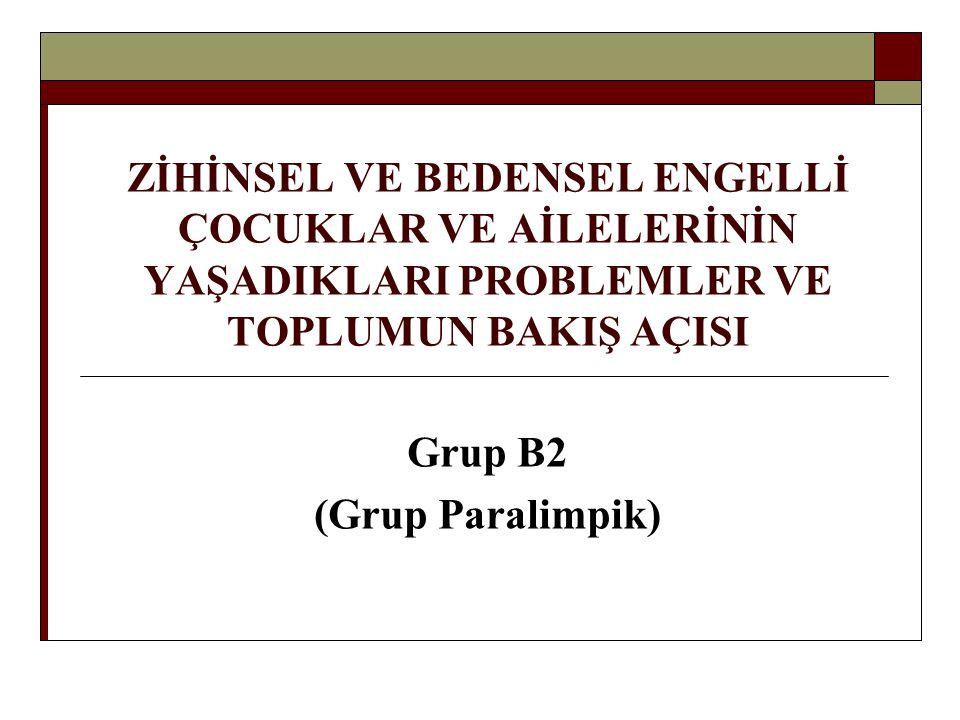 ZİHİNSEL VE BEDENSEL ENGELLİ ÇOCUKLAR VE AİLELERİNİN YAŞADIKLARI PROBLEMLER VE TOPLUMUN BAKIŞ AÇISI Grup B2 (Grup Paralimpik)