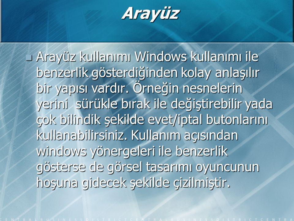 Arayüz Arayüz kullanımı Windows kullanımı ile benzerlik gösterdiğinden kolay anlaşılır bir yapısı vardır.