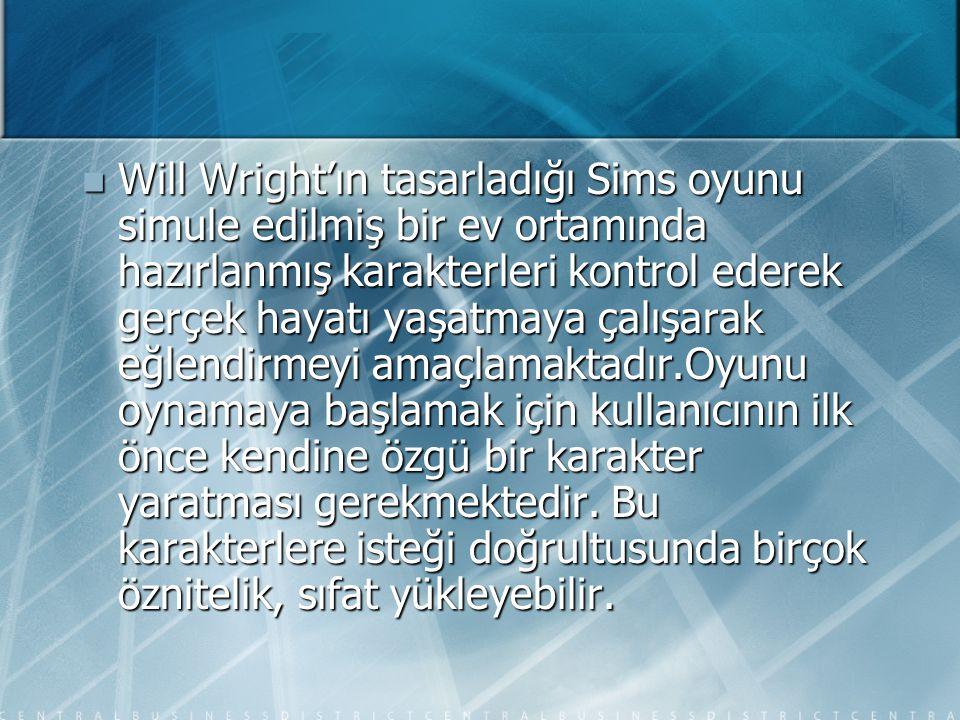 Will Wright'ın tasarladığı Sims oyunu simule edilmiş bir ev ortamında hazırlanmış karakterleri kontrol ederek gerçek hayatı yaşatmaya çalışarak eğlendirmeyi amaçlamaktadır.Oyunu oynamaya başlamak için kullanıcının ilk önce kendine özgü bir karakter yaratması gerekmektedir.