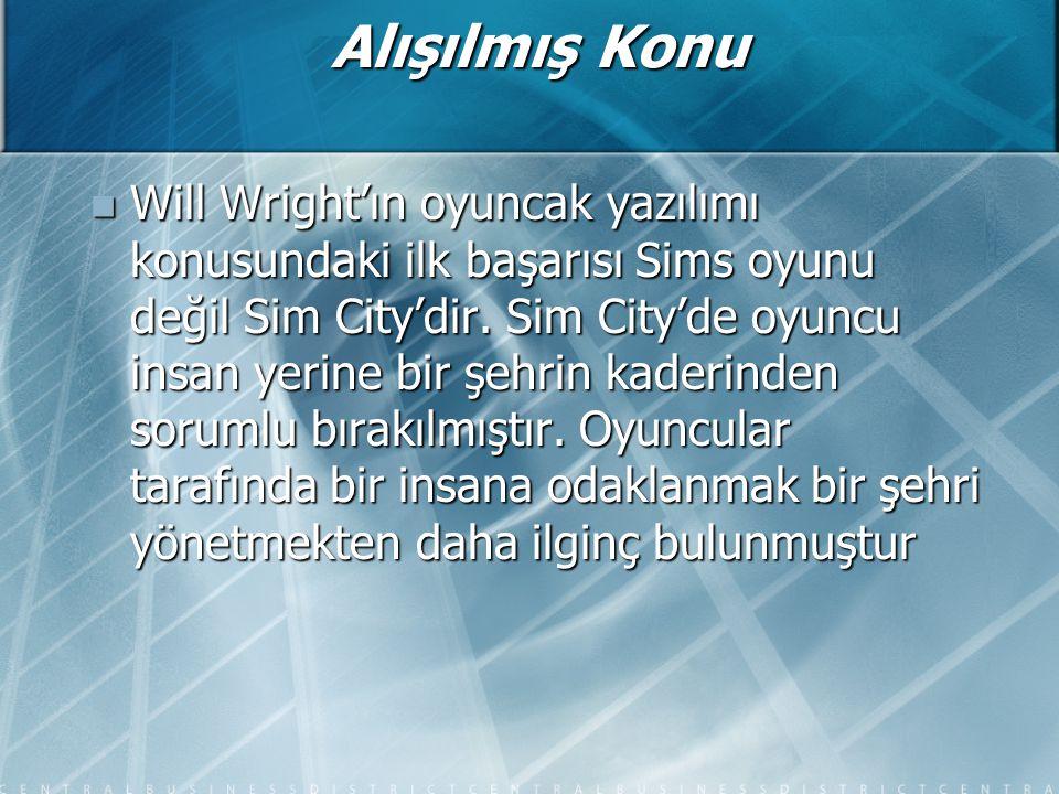 Alışılmış Konu Will Wright'ın oyuncak yazılımı konusundaki ilk başarısı Sims oyunu değil Sim City'dir.