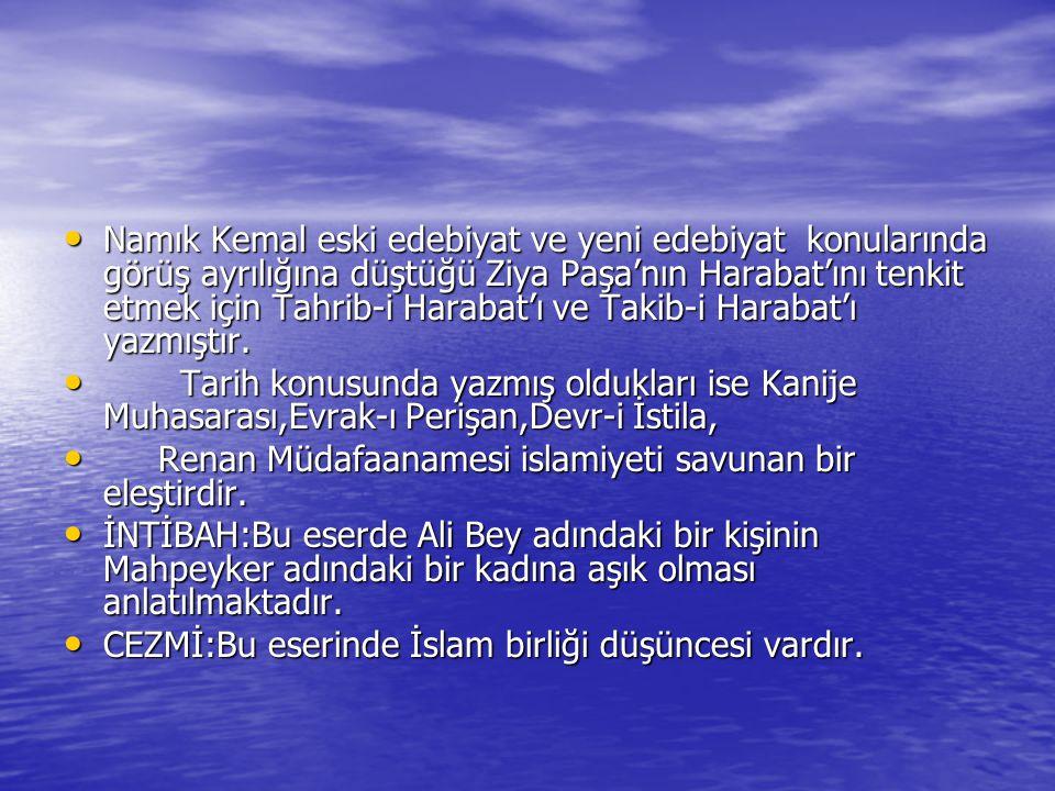 Namık Kemal eski edebiyat ve yeni edebiyat konularında görüş ayrılığına düştüğü Ziya Paşa'nın Harabat'ını tenkit etmek için Tahrib-i Harabat'ı ve Taki