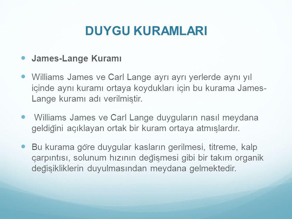 DUYGU KURAMLARI James-Lange Kuramı Williams James ve Carl Lange ayrı ayrı yerlerde aynı yıl ic ̧ inde aynı kuramı ortaya koydukları ic ̧ in bu kurama