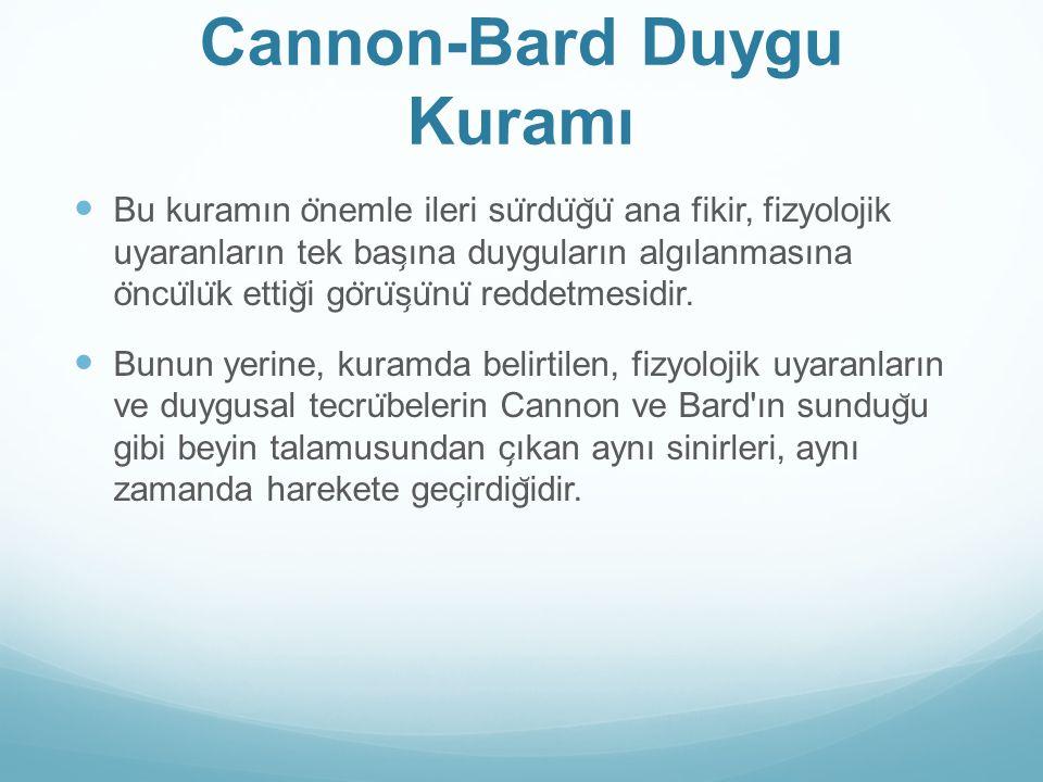 Cannon-Bard Duygu Kuramı Bu kuramın o ̈ nemle ileri su ̈ rdu ̈ g ̆ u ̈ ana fikir, fizyolojik uyaranların tek bas ̧ ına duyguların algılanmasına o ̈ nc
