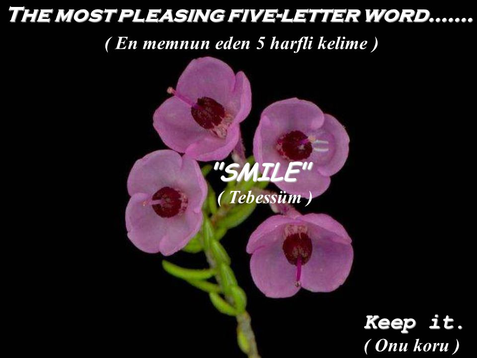 The most pleasing five-letter word....... SMILE Keep it.
