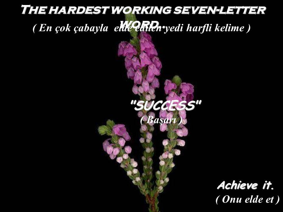 The hardest working seven-letter word.. SUCCESS Achieve it.