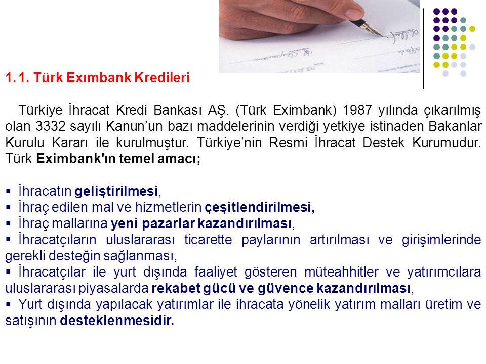 1. 1. Türk Exımbank Kredileri Türkiye İhracat Kredi Bankası AŞ. (Türk Eximbank) 1987 yılında çıkarılmış olan 3332 sayılı Kanun'un bazı maddelerinin ve