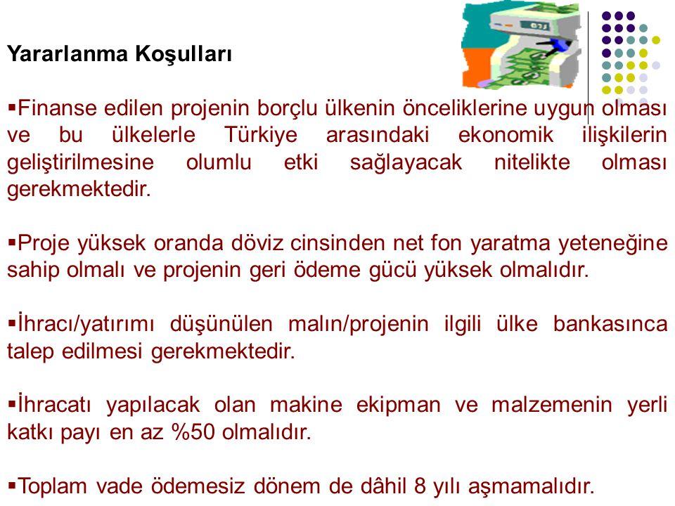 Yararlanma Koşulları  Finanse edilen projenin borçlu ülkenin önceliklerine uygun olması ve bu ülkelerle Türkiye arasındaki ekonomik ilişkilerin geliştirilmesine olumlu etki sağlayacak nitelikte olması gerekmektedir.