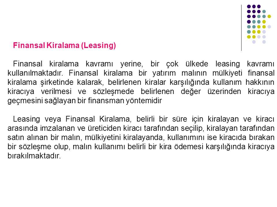 Finansal Kiralama (Leasing) Finansal kiralama kavramı yerine, bir çok ülkede leasing kavramı kullanılmaktadır. Finansal kiralama bir yatırım malının m