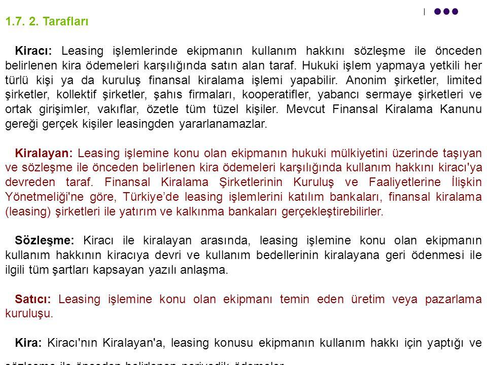 1. 7. 2. Tarafları Kiracı: Leasing işlemlerinde ekipmanın kullanım hakkını sözleşme ile önceden belirlenen kira ödemeleri karşılığında satın alan tara
