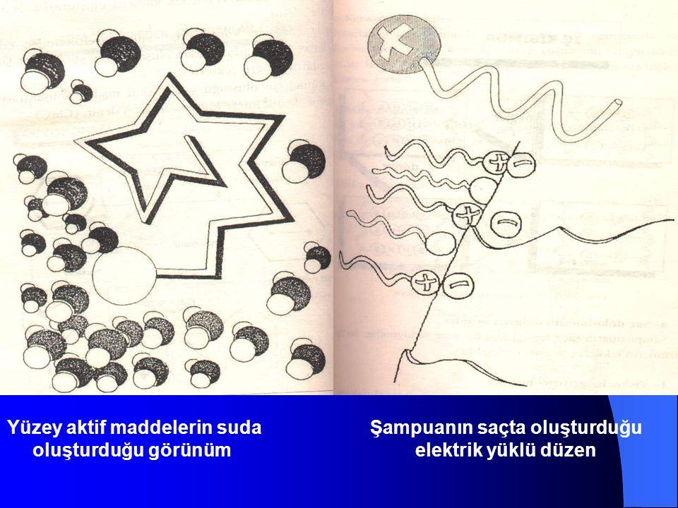 Yüzey aktif maddelerin suda oluşturduğu görünüm Şampuanın saçta oluşturduğu elektrik yüklü düzen