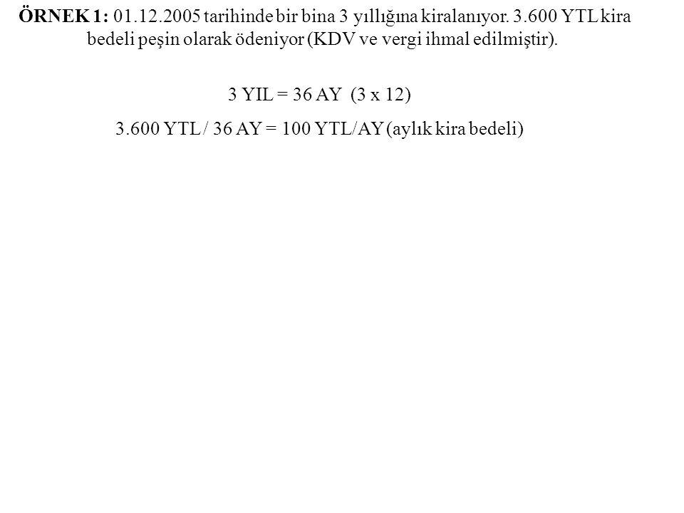 ÖRNEK 1: 01.12.2005 tarihinde bir bina 3 yıllığına kiralanıyor. 3.600 YTL kira bedeli peşin olarak ödeniyor (KDV ve vergi ihmal edilmiştir). 3 YIL = 3