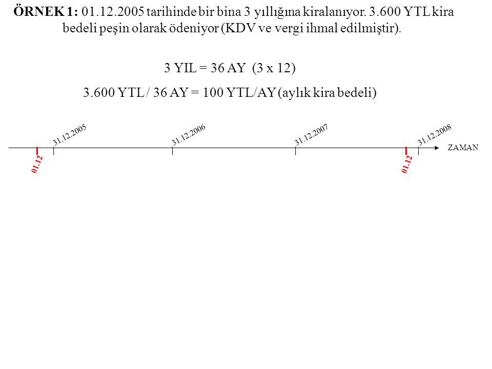 ÖRNEK 1: 01.12.2005 tarihinde bir bina 3 yıllığına kiralanıyor. 3.600 YTL kira bedeli peşin olarak ödeniyor (KDV ve vergi ihmal edilmiştir). ZAMAN 01.