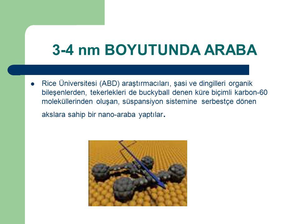 3-4 nm BOYUTUNDA ARABA Rice Üniversitesi (ABD) araştırmacıları, şasi ve dingilleri organik bileşenlerden, tekerlekleri de buckyball denen küre biçimli karbon-60 moleküllerinden oluşan, süspansiyon sistemine serbestçe dönen akslara sahip bir nano-araba yaptılar.