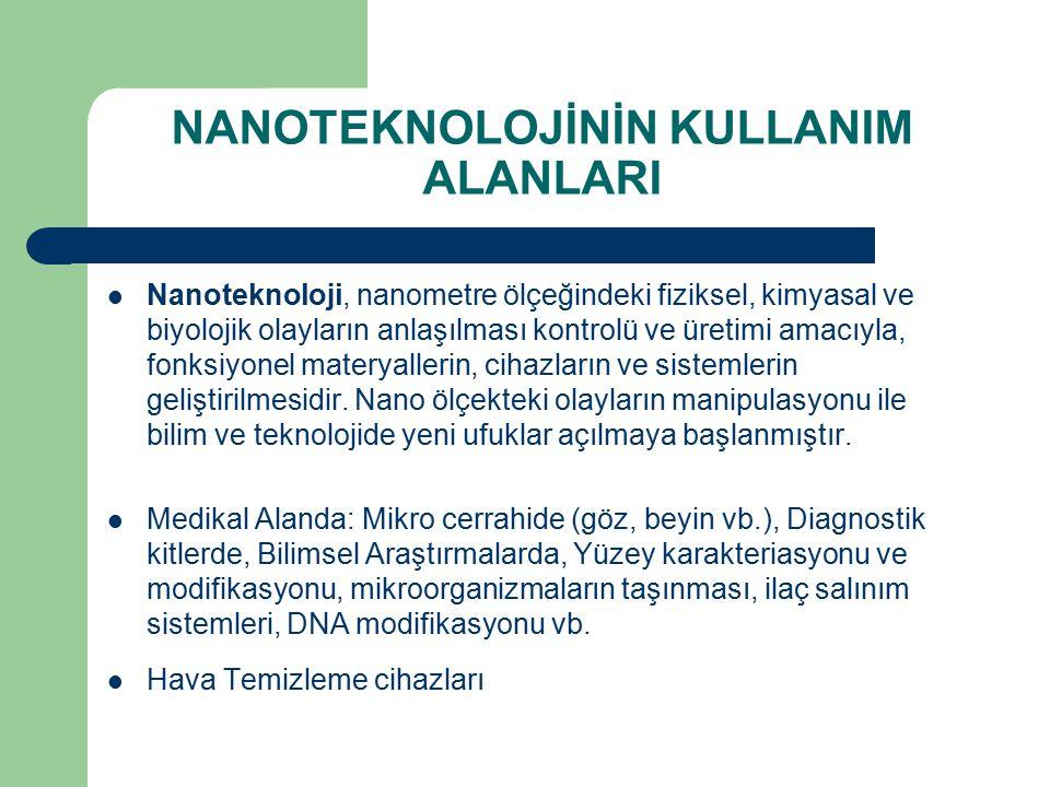 NANOTEKNOLOJİ AMAÇLARI Nanometre ölçekli yapıların analizi, Nanometre boyutunda yapıların fiziksel özelliklerinin anlaşılması, Nanometre ölçekli yapıların imalatı, Nano hassasiyetli cihazların geliştirilmesi, Nano ölçekli cihazların geliştirilmesi, Uygun yöntemler bulunarak nanoskopik ve makroskopik dünya arasındaki bağın kurulmasıdır.