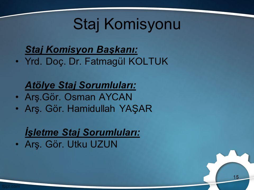 15 Staj Komisyonu Staj Komisyon Başkanı: Yrd. Doç. Dr. Fatmagül KOLTUK Atölye Staj Sorumluları: Arş.Gör. Osman AYCAN Arş. Gör. Hamidullah YAŞAR İşletm