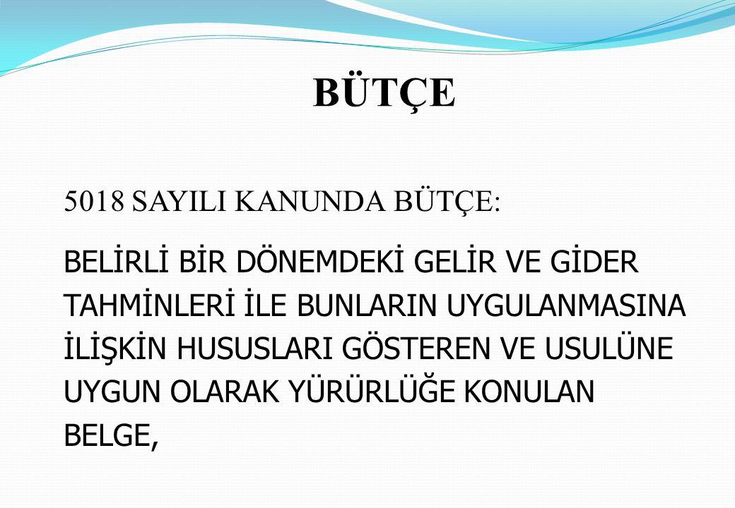 BÜTÇE TÜRLERİ GENEL YÖNETİM SOS.GÜV.