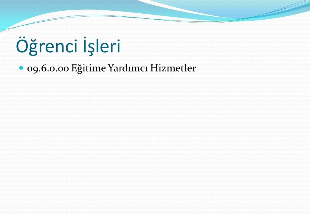 Öğrenci İşleri 09.6.0.00 Eğitime Yardımcı Hizmetler