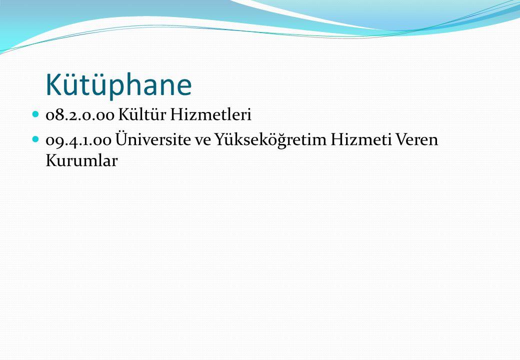 Kütüphane 08.2.0.00 Kültür Hizmetleri 09.4.1.00 Üniversite ve Yükseköğretim Hizmeti Veren Kurumlar