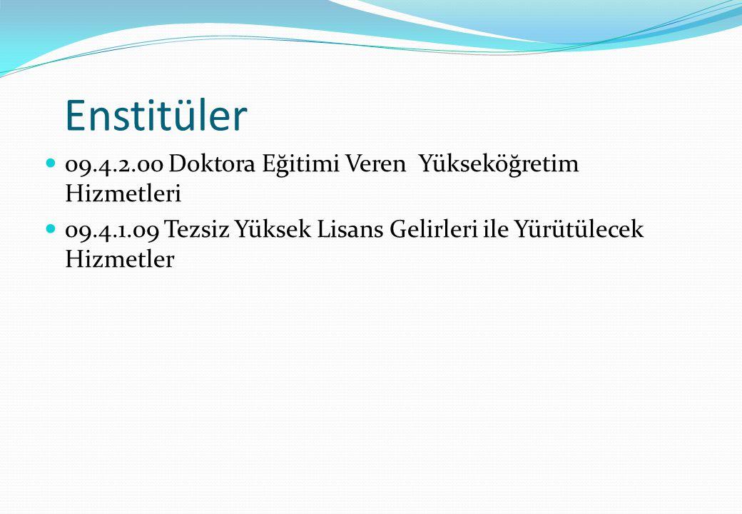 Enstitüler 09.4.2.00 Doktora Eğitimi Veren Yükseköğretim Hizmetleri 09.4.1.09 Tezsiz Yüksek Lisans Gelirleri ile Yürütülecek Hizmetler