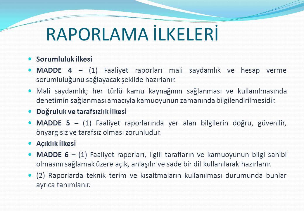 RAPORLAMA İLKELERİ Sorumluluk ilkesi MADDE 4 – (1) Faaliyet raporları mali saydamlık ve hesap verme sorumluluğunu sağlayacak şekilde hazırlanır.