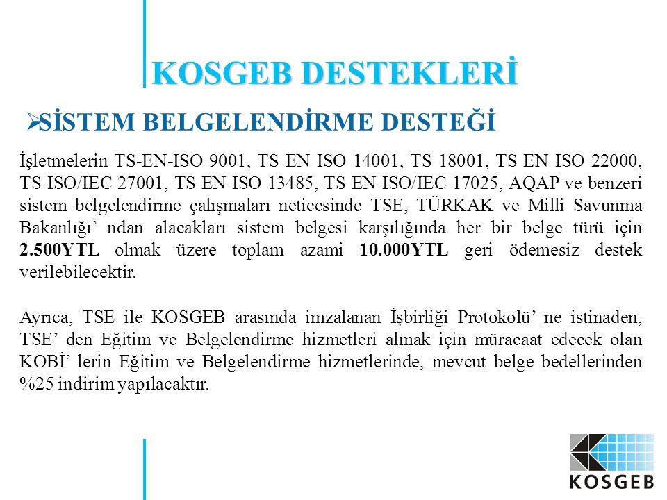  SİSTEM BELGELENDİRME DESTEĞİ İşletmelerin TS-EN-ISO 9001, TS EN ISO 14001, TS 18001, TS EN ISO 22000, TS ISO/IEC 27001, TS EN ISO 13485, TS EN ISO/I