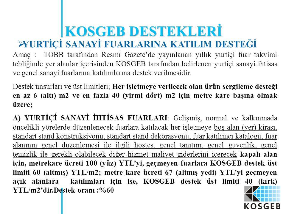 Amaç : TOBB tarafından Resmî Gazete'de yayınlanan yıllık yurtiçi fuar takvimi tebliğinde yer alanlar içerisinden KOSGEB tarafından belirlenen yurtiçi