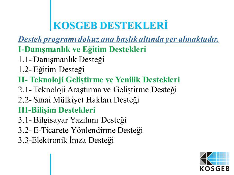 KOSGEB DESTEKLERİ Destek programı dokuz ana başlık altında yer almaktadır.