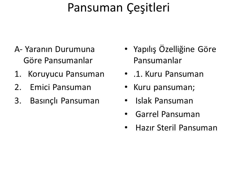 Pansuman Çeşitleri A- Yaranın Durumuna Göre Pansumanlar 1.Koruyucu Pansuman 2.