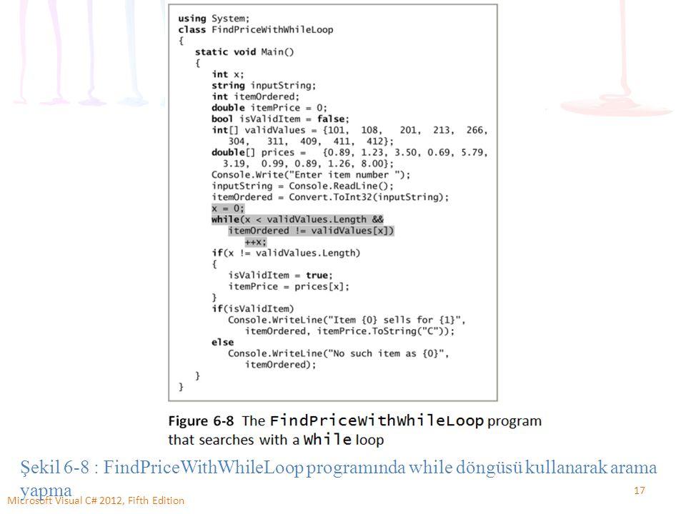 17 Microsoft Visual C# 2012, Fifth Edition Şekil 6-8 : FindPriceWithWhileLoop programında while döngüsü kullanarak arama yapma